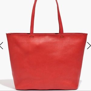 ✨Madewell Red Abroad Tote, like new